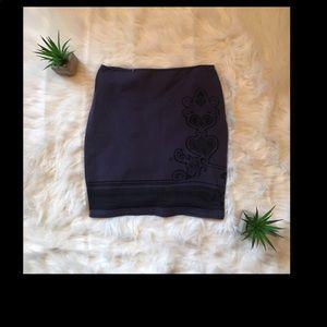 Free People Navy Blue Micro Mini Swirls Skirt L/G